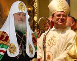 Kirill patriarcha és Pavel Pezzi r.k. moszkvai érsek