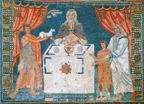 Ábel, Melkhisédek és Ábrahám áldozathozatala. Sant Apollinare in Classe, Ravenna, VI. sz.