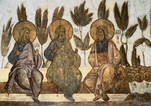 Ábrahám, Izsák és Jákob a paradicsomban. Ábrahám, a hívők atyja, kebelére öleli gyermekeit. Vlagyimir, Nagyboldogasszony székesegyház, 1408