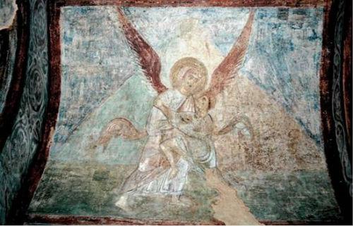 Jákob harca az angyallal. Kijev, Szent Szophia székesegyház, 1040-es évek.