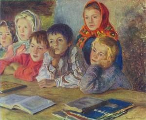 """Nyikoláj Bogdanov-Belszkij: """"Gyerekek a tanórán"""""""
