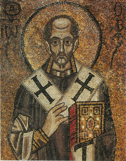 Aranyszájú Szent János. Mozaika a kijevi Szent Szophia székesegyházban (XI. sz.)