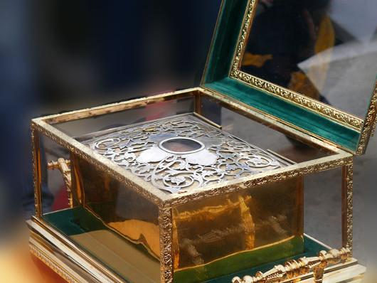 Aranyszájú Szent János fejereklyéje a moszkvai Megváltó Krisztus székesegyházban