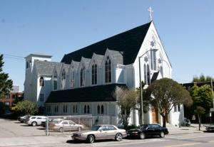 """Az amerikai szolgálatának kezdetén Szent János által felszentelt san francisco-i """"régi székesegyház"""""""