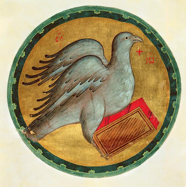 """A """"sas"""" - Szent János evangelista szimbóluma. Hitrovo Evangélium, Moszkva, 15. század. A. Rubljov iskolája."""